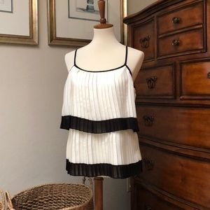 NWOT Badgley Mischka Pleated Layer Top Size M